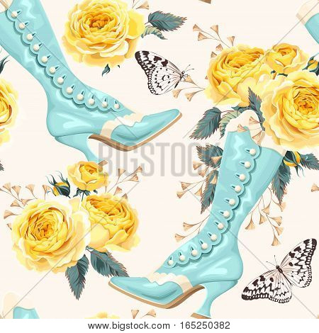 Vintage shoes and roses vector seamless background
