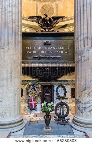 ROME - DECEMBER 16: Tomb of King Victor Emmanuel II inside the Pantheon, Rome, Italy, December 16, 2016