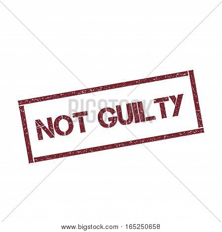 Not Guilty Rectangular Stamp. Textured Red Seal With Text Isolated On White Background, Vector Illus