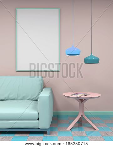 interior mockup framed poster. Sofa and coffee table with chandeliers. 3d rendering