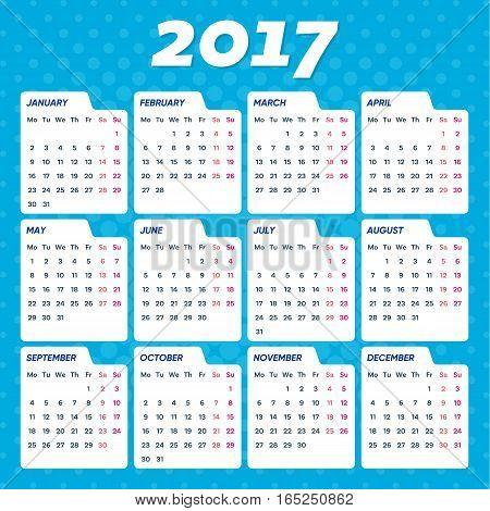 Blue vector 2017 calendar weeks start from monday
