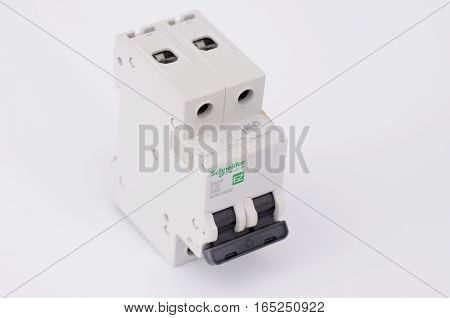 SARANSK, RUSSIA - JANUARY 13, 2017: Schneider Electric two-pole circuit breaker on white background.