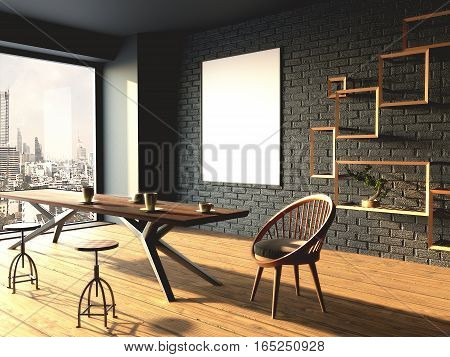 interior mockup framed poster. Modern room with large window. 3d rendering.