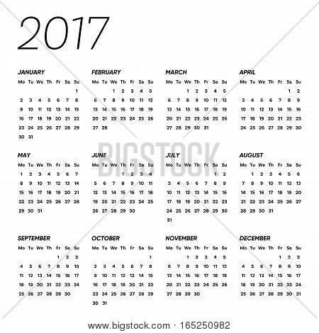 Minimalist vector 2017 calendar weeks start from monday