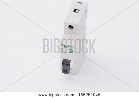 SARANSK, RUSSIA - JANUARY 13, 2017: Schneider Electric one-pole circuit breaker.