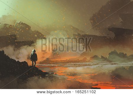 astronaut standing in abandoned planet with volcanic landscape illustration painting