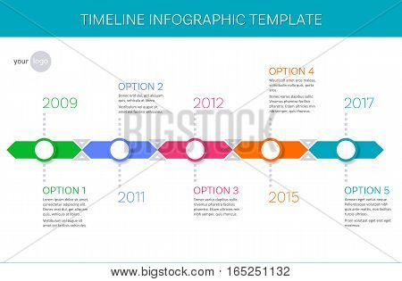 Trendy vector timeline infographic template history of company