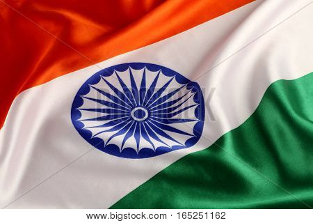 Orange / Green / White India National Flag Closeup