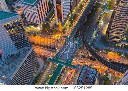 Top view City road cross intersection night view cityscape background