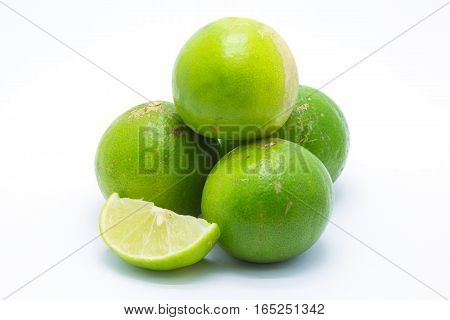 Limes on white background fresh limes ready for cook
