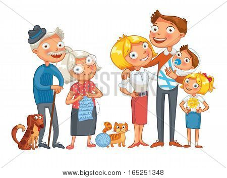 Big happy family consisting of a father, mother, daughter, son, grandparents and two pets, posing together. Funny cartoon character. Vector illustration. Isolated on white background. Set
