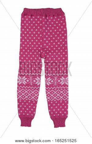 Pink children wool pants isolate on a white background