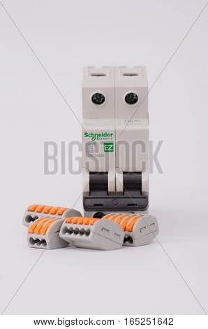 SARANSK, RUSSIA - JANUARY 13, 2017: Schneider Electric two-pole circuit breaker with Compact Splicing Connectors.