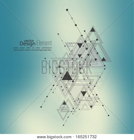 Abstract vector background with geometric shapes intersecting. Diagonal lines with dots and translucent triangles. Ethnic, mystical symbol. hipster pattern. Color gradient. Colorful defocus