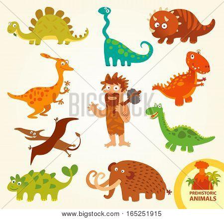 Set funny prehistoric animals. Caveman, allosaurus, triceratops, mammoth, brachiosaurus, stegosaurus, pterodactyloidea. Funny cartoon character. Vector illustration. Isolated on white background