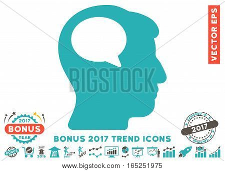 Grey And Cyan Person Thinking pictograph with bonus 2017 trend design elements. Vector illustration style is flat iconic bicolor symbols white background.