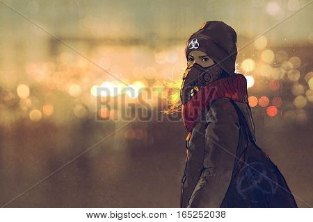 outdoor portrait of young woman with gas mask in winter with bokeh light on background, illustration painting