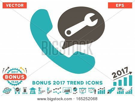 Grey And Cyan Phone Service Message pictograph with bonus 2017 trend elements. Vector illustration style is flat iconic bicolor symbols white background.