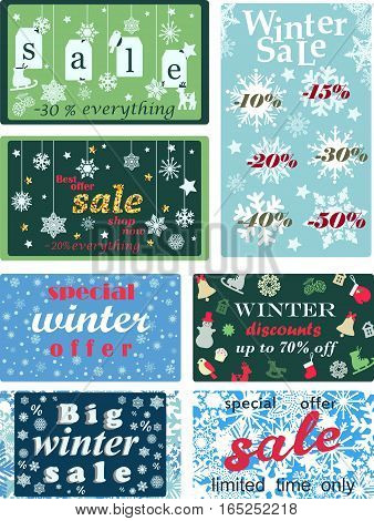 Colorful set seasonal winter sales background emblems, discount tickets, labels, stamps, stickers badges collection.