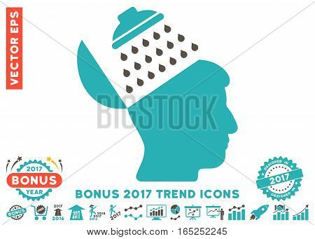 Grey And Cyan Propaganda Brain Shower icon with bonus 2017 trend design elements. Vector illustration style is flat iconic bicolor symbols white background. poster