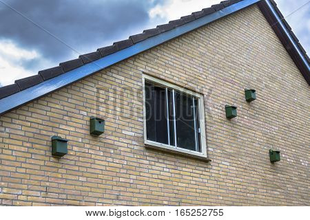 Bird House Nesting Boxes For House Sparrow On A Building In Urban Environment