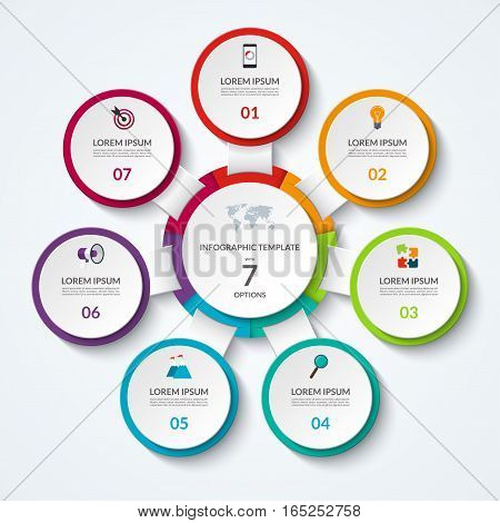 Infographic diagram with 7 options. Vector template what can be used as circular chart, numbered banner, workflow layout, graph, report, presentation, web design.
