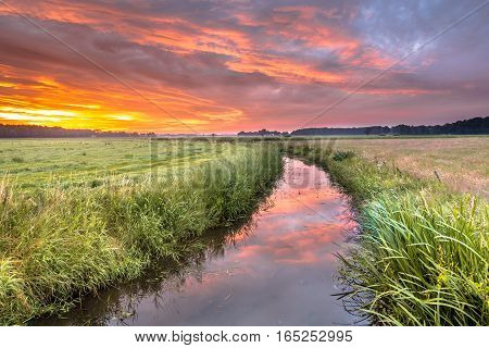Spiritual Voyage Concept Summer Sunrise Over Lowland River