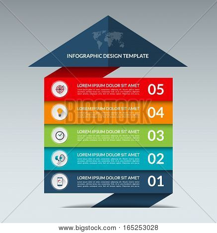 Infographic arrow design template. Business growth concept banner with 5 options, parts, stages. Can be used for web, diagram, graph, chart, report, step by step infographics. Vector background
