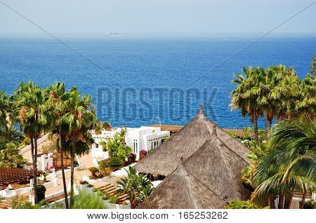 Recreation area and beach of luxury hotel Tenerife island Spain