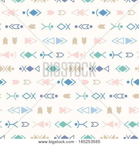 Vector Tribal Seamless Pattern Background With Aztec Ethnic Ornament Elements
