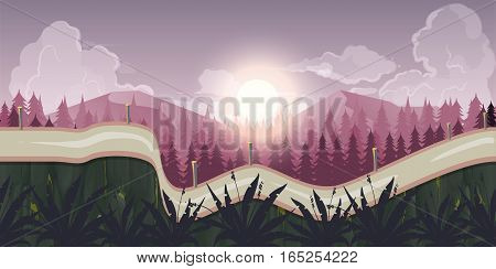Seamless morning landscape, never ending vector nature background with separated layers for game design. 2d game application. Illustration for your application , project.
