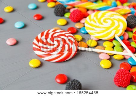 Assorted Colorful Candies And Lollipops