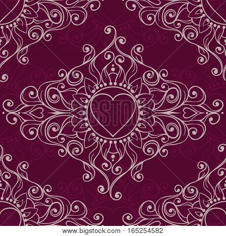 Sketch Of Tattoo Henna Hearts. Seamless Pattern