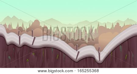 Cartoon forest landscape, endless vector nature background for computer games. Nature tree, outdoor plant green, natural environment wood illustration, Illustration for your application , project.