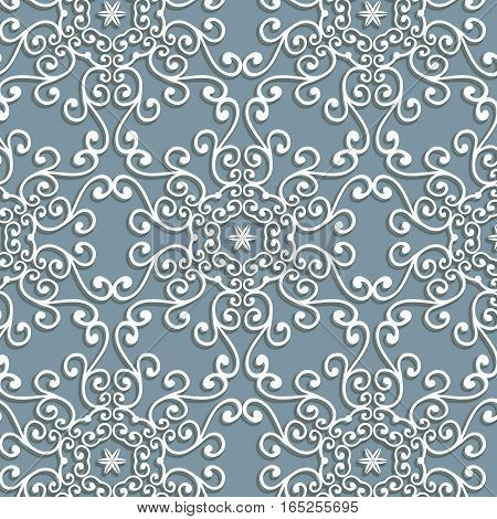 Vintage white delicate lace ornament pattern on a gray background