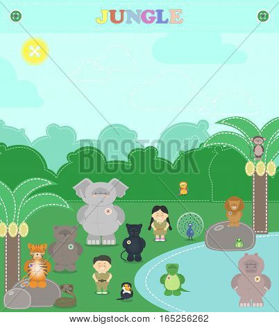 Animals from the jungle. Other plush animals in the jungle a boy and a girl. cartoon Vector