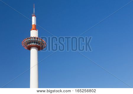 Kyoto tower with clear blue sky background japan