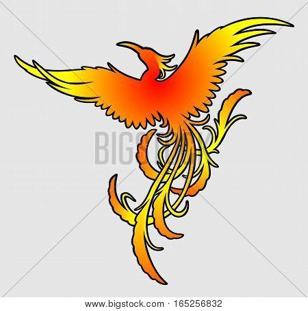 Flying fiery phoenix color silhouette vector art