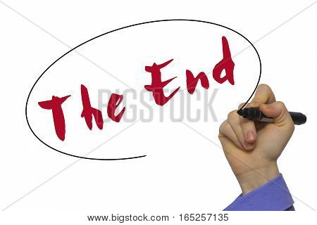 Woman Hand Writing The End On Blank Transparent Board With A Marker Isolated Over White Background.