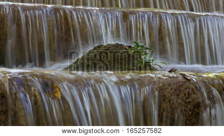 Close up natural waterfall natural landscape background