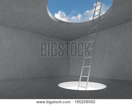 Ladder out of the light hole space on floor up to the sky on concrete room. 3D rendering illustration.