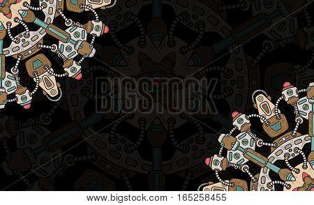 Banner with steampunk design elements. Steam mechanic elements. Steampunk ornament background. Vector illustration.