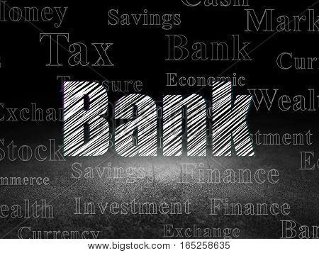 Currency concept: Glowing text Bank in grunge dark room with Dirty Floor, black background with  Tag Cloud
