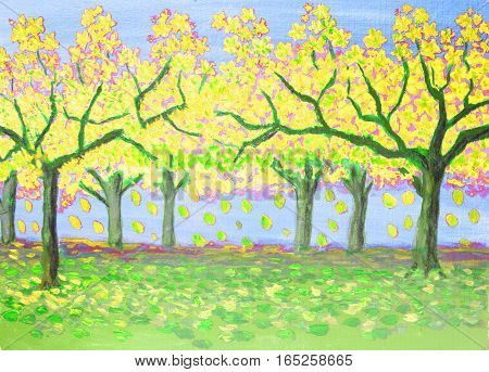 Autumn landscape with yellow garden oil painting.