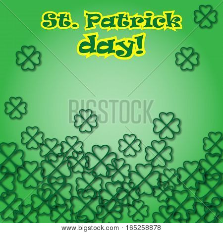 Card for St. Patricks day with the 3d clover leaves. Design for banner, invitation, postcard, pack. Vector illustration with text