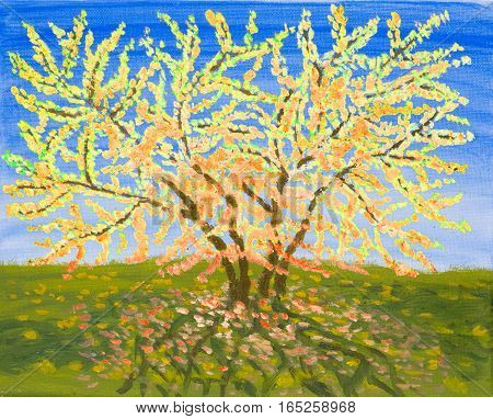 Yellow tree near sea in autumn oil painting.