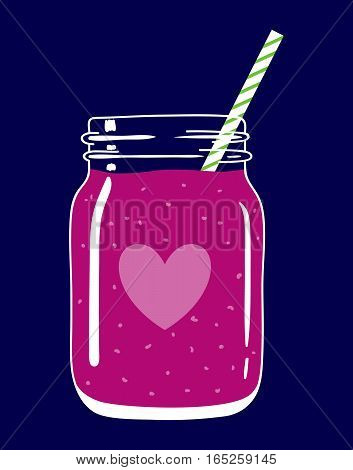 Fruit and berry smoothie in mason jar with striped straw and a heart. Romantic smoothie. Valentine's day drink. Fresh natural beverage, isolated. Vector hand drawn illustration eps10.