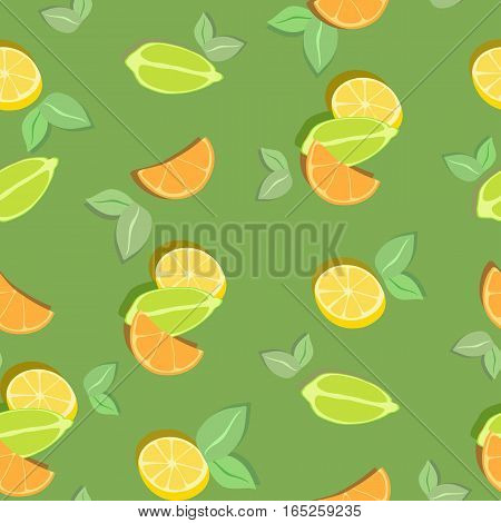 Colorful vector seamless background with slices of orange, lime, lemon. Background design for products with fillings citrus, vitamin products, eco-market, eco-products, drinks menu for textiles and paper.