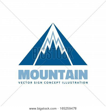 Mountains - vector logo template concept illustration. Expedition mountaineering sign. Tourism symbol. Design element.