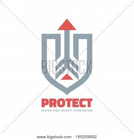 Protect - vector business logo template concept illustration. Abstract shield and arrow. Protection sign. Design element.